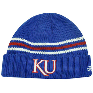NCAA Adidas Kansas Jayhawks Blue Red Cuffed Beanie Hat Toque Skully Licensed