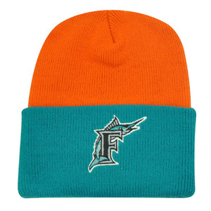 MLB FLORIDA MARLINS CUFF BEANIE KNIT TOQUE ORANGE AQUA