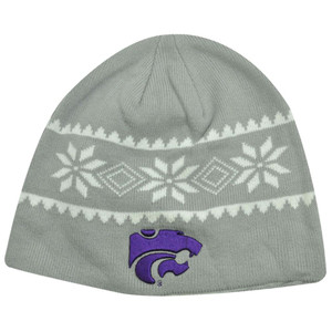 NCAA BEANIE KNIT HAT KANSAS STATE WILDCATS GREY PURPLE