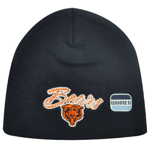 NFL Chicago Bears Rhinestone Gem Navy Blue Orange Women Ladies Knit Beanie Toque