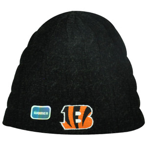 NFL Cincinnati Bengals Black Orange Plush Cable Knit Beanie Hat Toque Women Lady