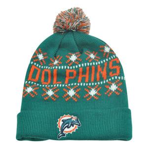 NFL '47 Brand Miami Dolphins Tip Off Cuffed Knit Beanie Pom Pom Hat Toque Skully