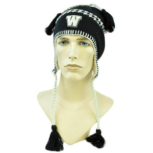NCAA Zephyr Alpine Tassel Knit Beanie Hat Ear Flaps Toque Washington Huskies