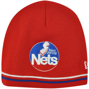 NBA New Jersey Nets New Era Knit Beanie Winter Cuffless Toque Red Skully Skull