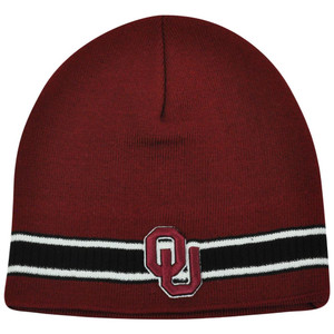 NCAA Oklahoma Sooners Striped Cuffless Beanie Knit Toque Skully Thick Winter Hat