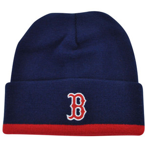 MLB Boston Red Sox Cuffed Knit Beanie Skully Toque Navy Fried Rice Plain Skull