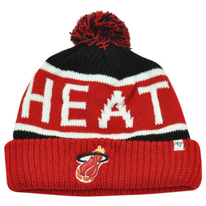 NBA '47 Brand HWC Miami Heat Calgary Red Cuffed Pom Beanie Knit Toque Skully Hat