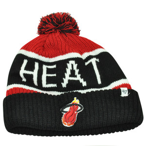 NBA '47 Brand HWC Miami Heat Calgary Black Cuffed Pom Beanie Knit Toque Hat