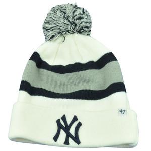 MLB '47 Brand NY New York Yankees Breakaway Cuffed Beanie Pom Skully Knit Hat