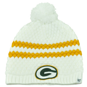 NFL '47 Brand Green Bay Packers Women Ladies Kendall Uncuffed Beanie Pom Knit