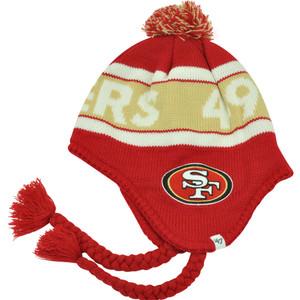 NFL '47 Brand San Francisco 49ers Cranbrook Ear Flap Skully Beanie Pom Hat Knit