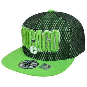 Chicago Illinois Chi Town Jersey Neon Green Flat Bill Snapback Windy City Hat