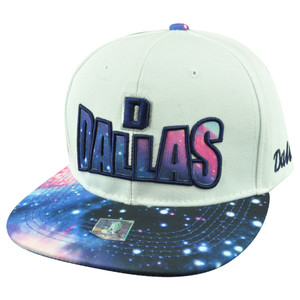 Dallas Texas TX Galactic Sublimated Galaxy Flat Bill Snapback White Blue Hat Cap