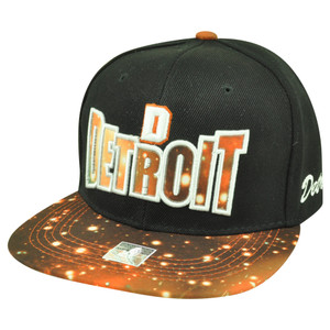Detroit Michigan Galactic Sublimated Galaxy Flat Bill Snapback Black Hat Cap