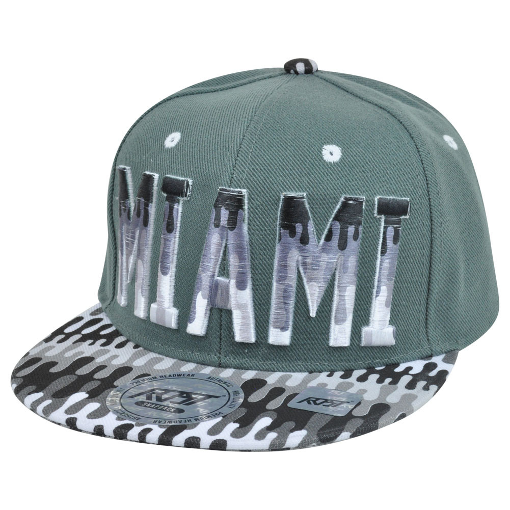 38249f4f3e1 Miami Florida Dripping Paint Print Snapback Grey Adjustable Flat ...
