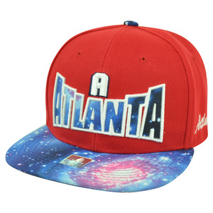 Atlanta ATL Georgia Galactic Sublimated Galaxy Flat Bill Snapback Red Hat Cap