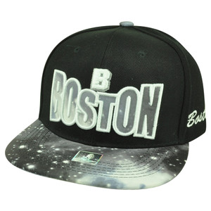 Boston Massachusetts Galactic Sublimated Galaxy Flat Bill Snapback Black Hat Cap