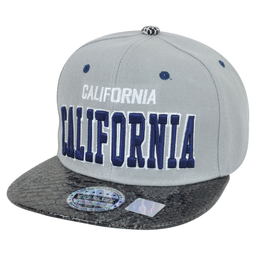 9fddacc2a79 California Cali Dark Animal Snake Skin Faux Grey Blue Snapback Flat ...