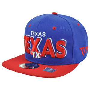 Big Texas State USA Flat Bill Snapback Block Letter Hat Cap Blue Adjustable US