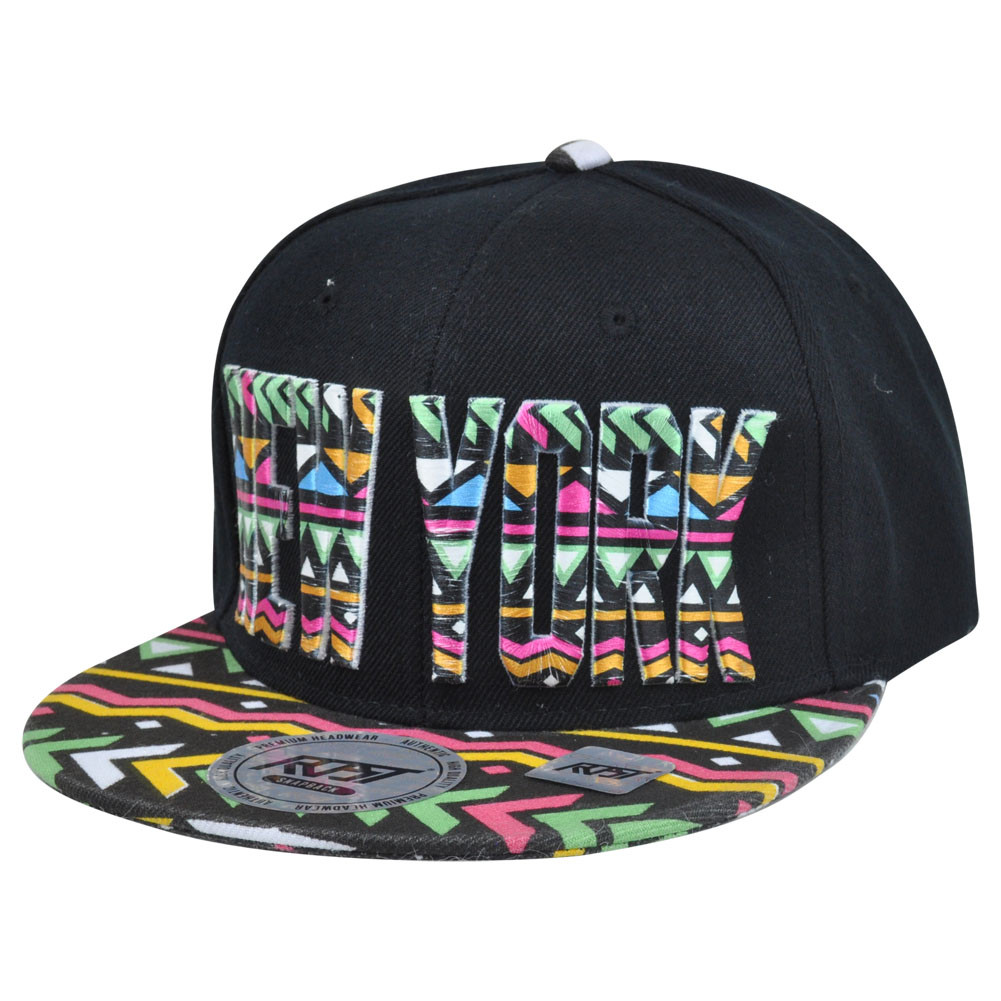 c9e6c5392dd New York City Big Apple Aztec Print Snapback Black Adjustable Flat ...