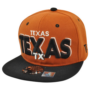 Big Texas State USA Flat Bill Snapback Block Letter Hat Cap Burnt Orange TX US
