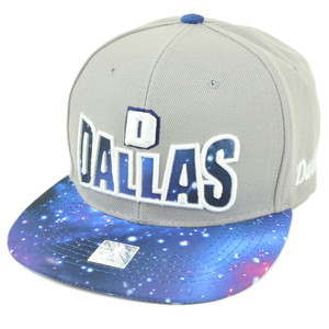 Dallas Texas Galactic Sublimated Galaxy Flat Bill Snapback Light Grey Hat Cap