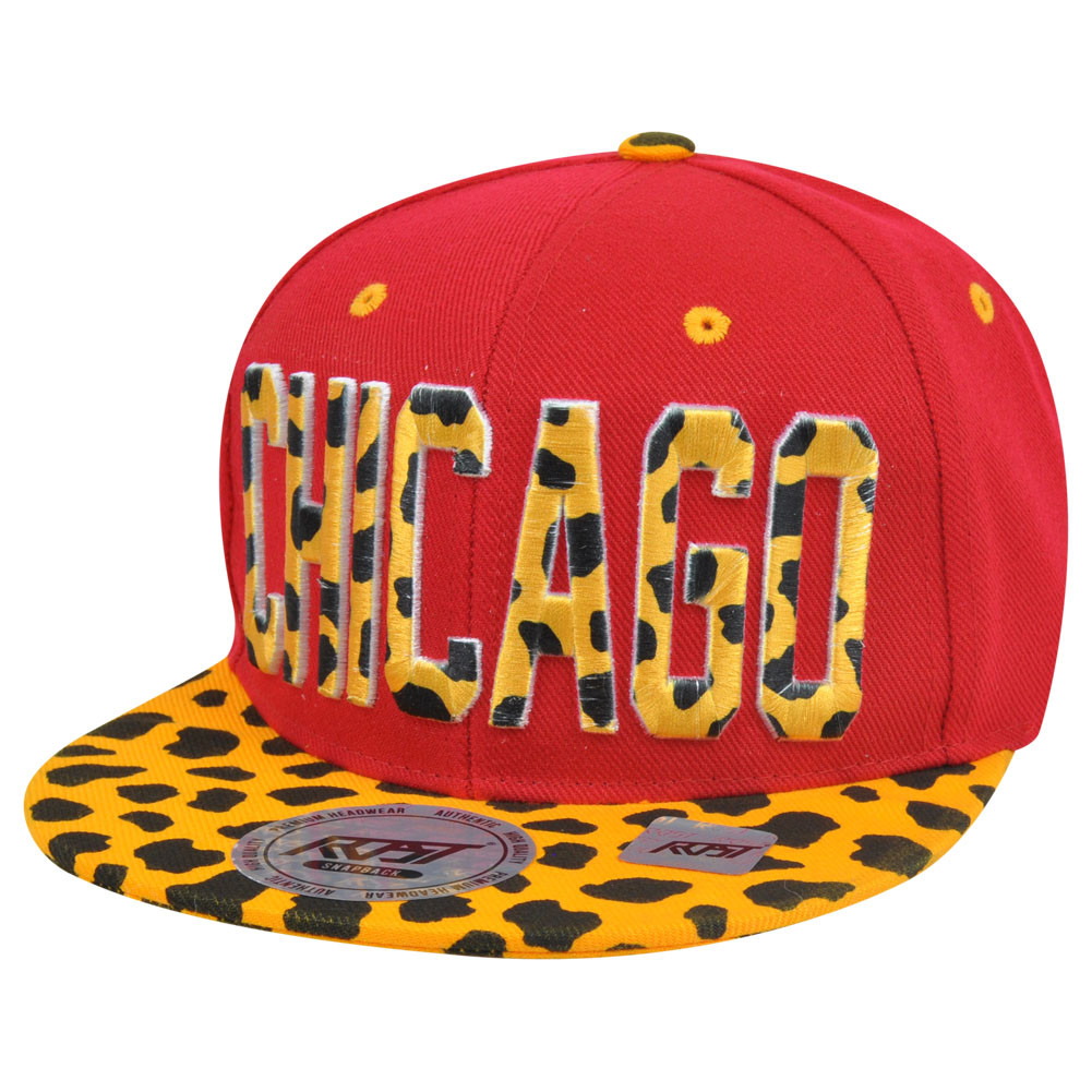 e54e2b96df4 Chicago Chi Town Cheetah Spots Print Snapback Red Adjustable Flat ...