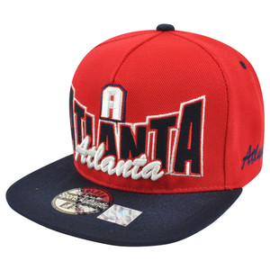 Atlanta ATL Georgia Flat Bill Snapback Script Logo City Town Two Tone Hat Cap