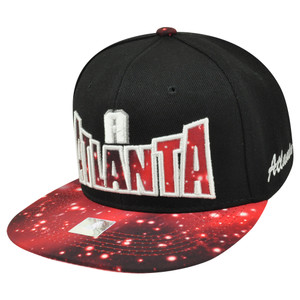 Atlanta ATL Georgia Black Galactic Sublimated Galaxy Flat Bill Snapback Hat Cap