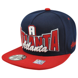 Atlanta ATL Georgia Flat Bill Snapback Script Logo City Two Tone Blue Hat Cap