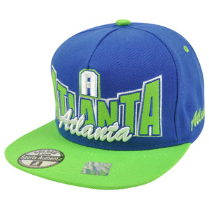 Atlanta ATL Georgia Flat Bill Snapback Script City Town Two Tone Hat Cap Blue