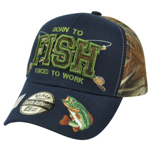 Born to Fish Bass Fishing Outdoors Two Tone Camouflage Camo Velcro Camp Hat Cap
