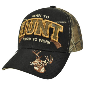 Born to Hunt Buck Two Tone Hunting Camouflage Camo Velcro Outdoors Camping Hat