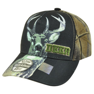 Deer Buck Two Tone Camouflage Camo Velcro Outdoor Hunting Hunt Hat Cap Camping