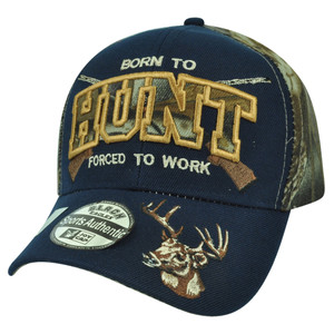 Born to Hunt Forced to Work Deer Navy Camouflage Camo Hat Cap Velcro Hunting
