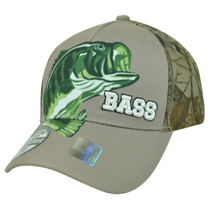 Bass Fishing Fish Outdoors Sport Camouflage Camo Velcro Beige Hat Cap Camping