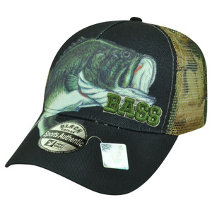 Bass Fishing Fish Outdoors Sport Camouflage Camo Velcro Navy Hat Cap Camping