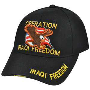 Operation Iraqi Freedom Military Veteran Hat Cap Constructed Adjustable Velcro