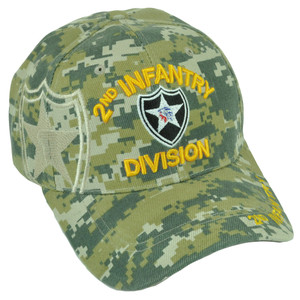 2nd Infantry Division Indian Head Digital Camouflage Velcro Military Hat Cap
