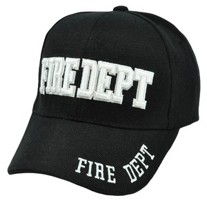 Fire Fighter Dept Department Black White Velcro Constructed Curved Bill Hat Cap