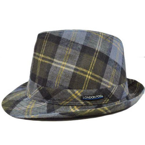 Authentic London Fog Blue Khaki Brown Plaid Small Medium Fedora Gangster Hat