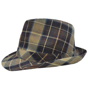 Authentic London Fog Tan Khaki Dark Brown Plaid Large XLarge Fedora Gangster Hat