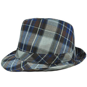 Authentic London Fog Navy Blue Brown Gray Plaid Large XLarge Fedora Gangster Hat