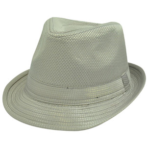 Champagne Taupe Satin Checker Small Medium Fedora Trilby Stetson Homburg Hat