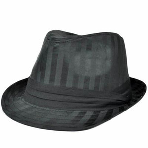 Black Satin Stripes Small Medium MD Fedora Trilby Homburg Stetson Gangster Hat