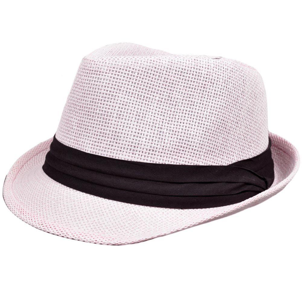Small Medium Light Pale Pink Woven Straw Fedora Stetson Gangster ... 0efbe20d843