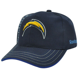 NFL Reebok Rbk Stitches San Diego Chargers Adjustable Velcro Constructed Hat Cap