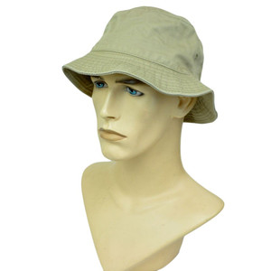 American Needle Blank Solid Plain Khaki Beige Bucket Hat Small Medium Beach Cap