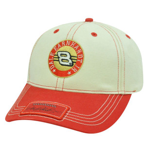 HAT CAP BUDWEISER DALE EARNHARDT JR 8 NASCAR RACE RACING WINNERS CICRCLE RED TAN