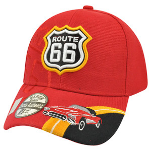 Route 66 US Sixty First Highway Road Historic State Velcro Sign Hat Cap America